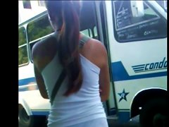 Cute Girl With A Very Sexy Body Bus Waiting
