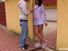 A Pretty Teen In A Miniskirt Loves To Sit On His Hard Dick