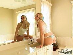 Delicious Blonde Bombshell Cock Teasing In Her Bathroom