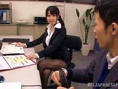 Japanese Babe Arisa Misato Leaves Her Lace Nylons On While Fucking