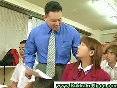 Real Japanese School Girl Gets Bukkake In Amateur Gangbang