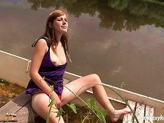 Adventurous Redhead Slut Goes Solo Teasing And Stroke Her Muff On The Boat