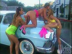 Car Wash Lesbians Licking & Anal Toying Outdoors