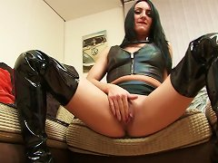 Young Brunette Is Wearing Her Favourite High Boots While Masturbating