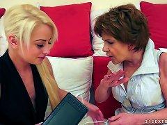 A Teen Babe Licks An Elderly Grandma's Hairy, Wrinkled Pussy