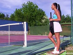 While Waiting For Her Tennis Coach She Gets Naked And Gets Off