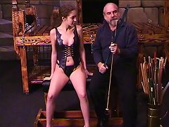 Older Dude Slides His Thin Cane Along Young Brunette's Inner Thigh