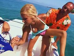 Perfect Blonde Teen Is Shared By Two Guys On A Boat