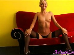 Geeky Blonde Pornstar In Stocking Fingering With Insertions Plays With Juggs On Red Couch