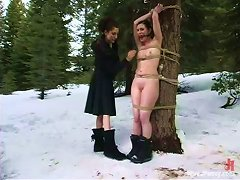 Horny Bitches Melt The Snow When They Play Femdom Games!