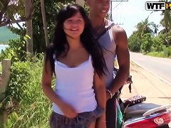 Naughty Brunette Girl Shows Her Sexy Body Walking In The Street