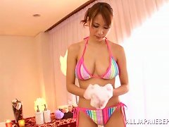 Charming Asian Hot Babe Nami Aino In A Naughty Soapy Tit Fuck