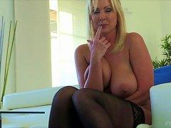 Divine-looking Experienced Blonde Shows Off Her Huge Pair Of Breasts