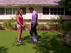 Slutty Teen Bitch Sucking An Older Golf Player's Cock Outdoors