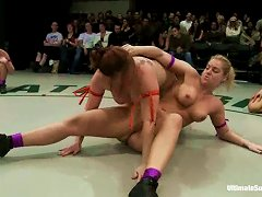 Lesbians Go Crazy Over Female Wrestling In The Nude!