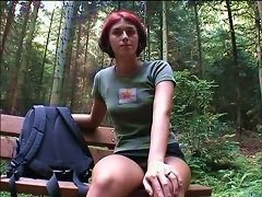 Cute Short-haired Ginger Girl Gets Pickuped In The Forest