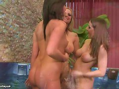 Hot Lesbian Threesome In The Jacuzzi With Sexy Busty Babes