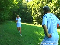 Tasty Blonde Goes  With An Older  Man