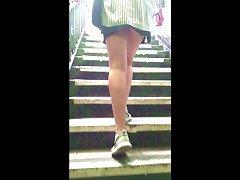 Cheeky Student, Bare Legs, Tiny Skirt, No Panties