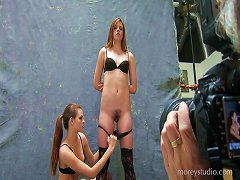 Hot Chicks In Stockings Pose Erotically In The Photo Studio