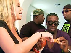Ravishing Blonde Babe With Fake Tits Gets Smashed By A Big Black Cock In A Wild Interracial Groupsex