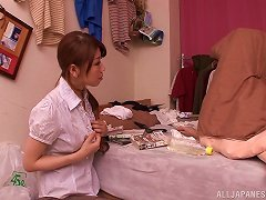 Asian Slut In Pantyhose Gives A Blowjob And Gets Cum On Her Tits.