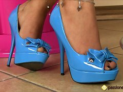 Cigarette Smoking Chick In A Shiny Blue Dress Teases Her Feet