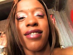 Ebony Babe With Big Tits Gives Cock In Gloryhole Blowjob Before Fucked In Toilet