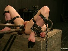 Toying Chained Brunette Girl With Gag Ball In Mouth Juliette March