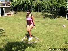 Playful Lea Lexxis Gets Fucked In Her Ass In A Backyard
