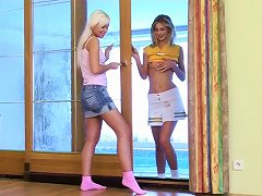 Open Minded Blondes Experience Naughty Lesbian Sex