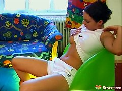 Chubby Teen With Fantastic Juggs Playing With Her Tight Pussy