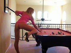 Petite Teenage Stripper Plays Pool