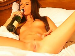 Bottle Of Champagne Will Help Monicca To Cum Several Times