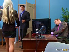 Bleach Blonde Secretary With A Huge Back Tattoo Fucked At Work