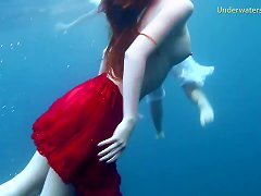 Natural Tits Lesbian Teen Diving Seductively In Cozy Pool