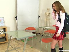 Solo Girl In A Plaid Skirt Masturbates In The Classroom