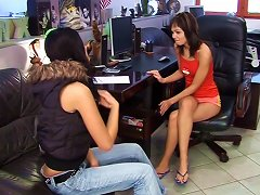 Classy And Cute Lesbians Pleasing Each Other With A Smooth Dildo In The Office