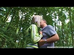 Teen Banged Doggystyle To Strong Bliss By An Elderly Man In The Forest