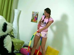 Pigtailed Blonde Princess Albina Plays With Hot Guy Wearing Panda Costume