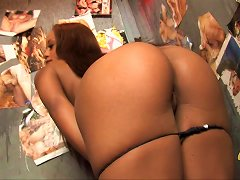 Romantic Ebony Babe With Long Hair And Hot Ass In Thong Deepthroating A Cock From A Gloryhole