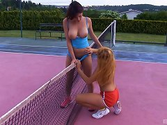 Let's Stop Playing Tennis And Lick Each Other's Shaved Pussies!