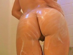 Cute  Gets Soapy And Wet While Having A Shower