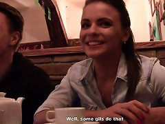 Nasty Brunette Hottie Liza Opens All Her Secrets To Two Guys In The Cafe