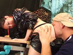 Leather-clad Brunette With A Shaved Pussy Enjoying A Mind-blowing Missionary Style Fuck