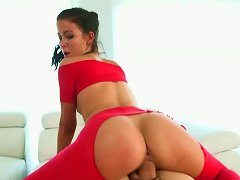 Well Shaped Brunette Girl Riding Hard Dick In A Cowgirl Position
