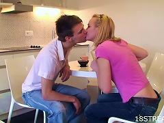 Blonde  Ing Addict Alisa And Eugen Kitchen Teen Sex