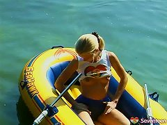 Small Tits Solo Model Fingering Her Twat Solo On The Lake