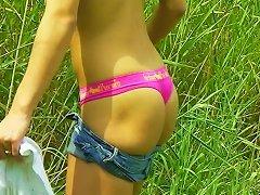Playful Hoe Shana Lane Masturbates On The Green Grass