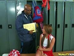 Kinky Cheerleader Haley Is In An Interracial Sex